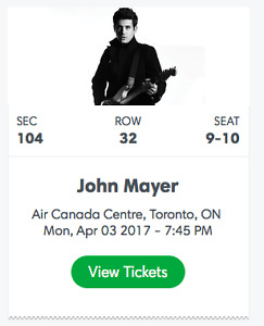 2 tickets to John Mayer @ ACC April 3rd - Section 104