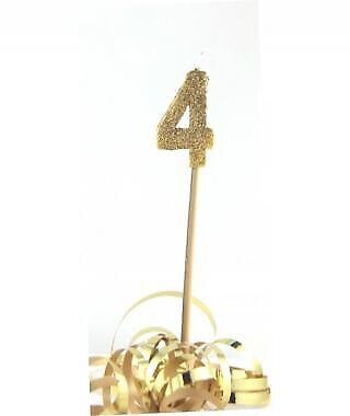 GOLD GLITTER LONG STICK CANDLE #4 BIRTHDAY PARTY SUPPLIES