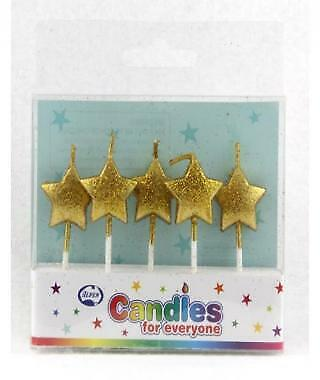 STAR GLITTER GOLD CANDLES PACK OF 5 BIRTHDAY PARTY SUPPLIES