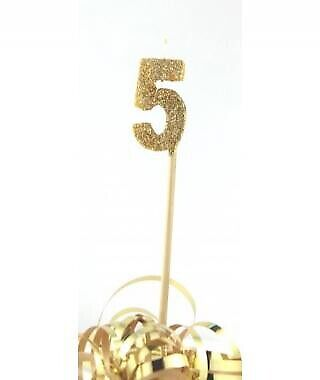 GOLD GLITTER LONG STICK CANDLE #5 BIRTHDAY PARTY SUPPLIES