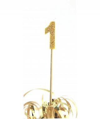 GOLD GLITTER LONG STICK CANDLE #1 BIRTHDAY PARTY SUPPLIES