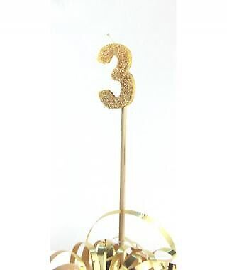 GOLD GLITTER LONG STICK CANDLE #3 BIRTHDAY PARTY SUPPLIES