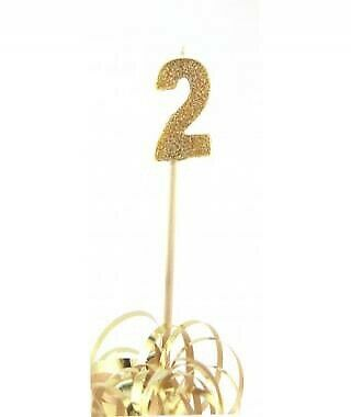 GOLD GLITTER LONG STICK CANDLE #2 BIRTHDAY PARTY SUPPLIES