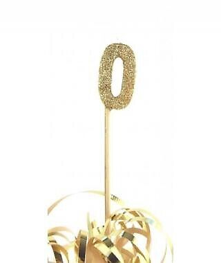 GOLD GLITTER LONG STICK CANDLE #0 BIRTHDAY PARTY SUPPLIES
