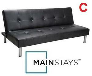 "NEW* MAINSTAYS FAUX LEATHER FUTON Dimensions: 7"" x 67¾"" x 39½"" - BLACK - SOFA BED - FURNITURE - HOME - LIVING ROOM"