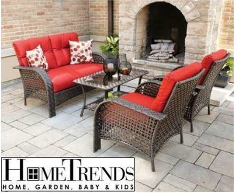 USED HOMETRENDS TUSCANY PATIO SET 4 PC WICKER   RED Patio Furniture Outdoor  Conversation Sets | Patio U0026 Garden Furniture | City Of Toronto | Kijiji