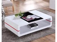 DESIGNER COFFEE TABLE HIGH GLOSS WHITE WITH A TOUCH OF RED/ CLEARANCE PRICE £100- NORMAL RRP £499