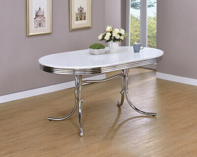 Retro Oval Dining Table Glossy White And Chrome 2065