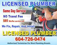 SPEEDY Plumbing - LICENSED Plumber -Install - Repair ** SAME DAY