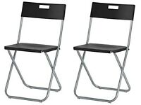 Gunde Ikea black folding chairs x4