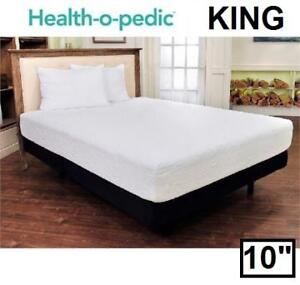 "NEW HEALTH-O-PEDIC MEMORY MATTRESS - 125292362 - KING 10"" GEL MEMORY FOAM MATTRESS' - BEDDING BEDS BEDS BEDROOM FURNI..."