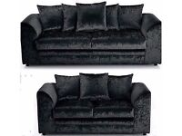 Brand New Dylan crushed velvet sofa in Silver ,Black color- AVAILABLE CORNER OR 3 AND 2 SEATER SOFA