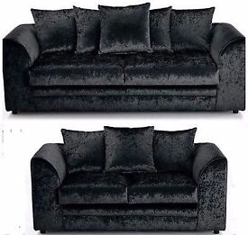 "--Brand New Dylan crushed velvet sofa in Silver ,Black color """"CORNER OR 3 AND 2 SEATER SOFA AVLBL"""""