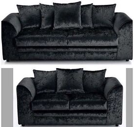 Black crushed velvet sofa 3x2 seater also available in silver can deliver