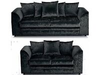 """Luxury 3+2 Seater Dylan Crushed Velvet Sofa in """"Black and Silver"""" Color!! ORDER NOW"""