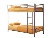 Bunk Bed, Metal Bed, Silver, Ortho Firm Mattress, Single Bed, X2, colour, Silver, white
