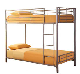 Matt Silver, Metal, Bunk Bed, new, With X 2 THICK, Semi ortho Mattress.