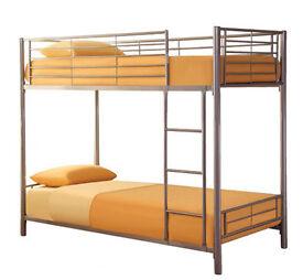 Matt Silver, Metal, Bunk Bed, new, With X 2 Thick semi ortho Mattress.