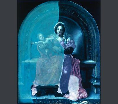 The Virgin and Child' during cleaning. Under ultraviolet light, the old varnish at left has a greenish fluorescence