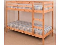 BUNK BED 3FT + mattress but usable – as single as well, NATURAL  Richmond / Ham