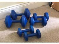 Set of three dumbells