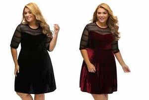 Black/Burgundy Mesh Insert Velvety Swing Dress 18, 20 Ascot Brisbane North East Preview