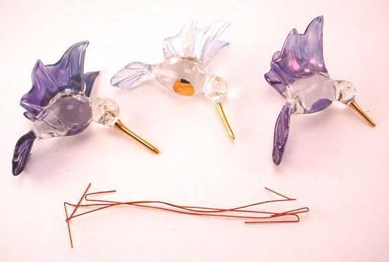 (3) HUMMINGBIRD GLASS ORNAMENTS