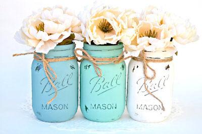 (Boho Mason jar decor distressed set of 3 wedding decor tablescape industrial )