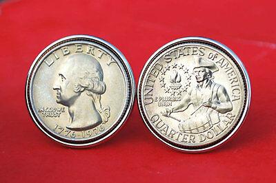 US 1776   1976 BICENTENNIAL WASHINGTON QUARTER BU COIN SILVER PLATED CUFFLINKS