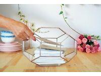 Large geometric glass terrarium decor or planting