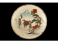 JAPANESE PLATE - hand made ornamental porcelain antique plate - late 19th Century