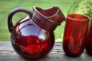 Vintage Ruby Red Anchor Hocking Depression Glass Wear