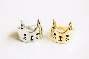 New gold and silver tone lovely cat ring