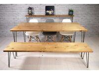 Vintage Hairpin Leg Kitchen Table - Handmade (170x86cm)