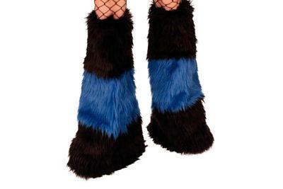 Black Royal Blue Furry Leg Warmers Fluffy Fur Fuzzy Yeti Fluffies Rave Costume - Blue Fur Leg Warmers