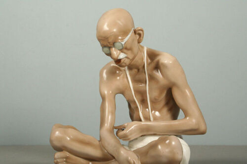 A rare porcelain figure of Mahatma Gandhi. Royal Dux 1960s.