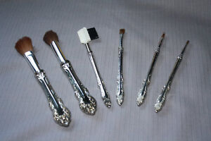 Silver Plated Makeup Brush set with case - Heirloom