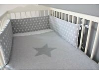 Grey + white stars cot bumper - £10 - Originally bought for £35