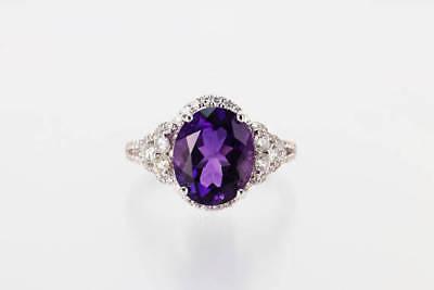 Classic Royal Purple Amethyst Diamond Ring w/ 6 Diamonds  on 14k White Gold