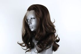Beautiful synthetic lace wig BRAND NEW dark brown Hollywood waves