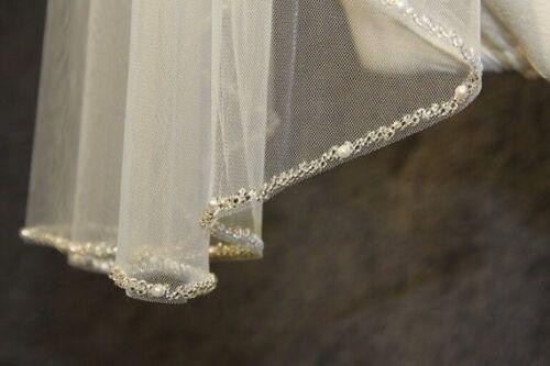 White Ivory Champagne one layer Wedding Veil beaded Edge Bridal Veil Fingertip