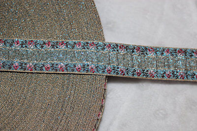 $1 yard Blue pink rose ombre metallic gold woven jacquard sewing ribbon - Rose Ribbon Trim