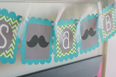 Mustache Bash Baby Shower or Birthday Chevron