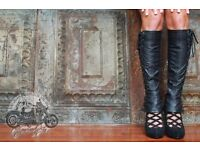 Black Leather Knee High Chaps with piping detail and buttons – NEW