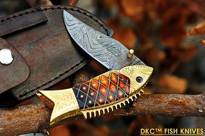 DKC-594 Sun Fish Mouth Closed Pocket Folding Knife Brass & Bone Folded 9.5oz 4.5