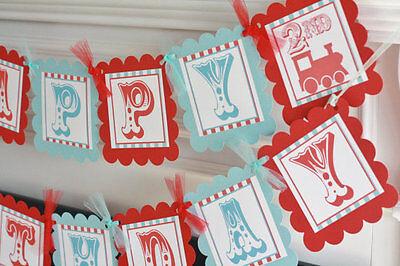 Happy Birthday Vintage Train Boy Birthday Banner in Red/Light Blue or Red/Navy (Happy Birthday In Lights)