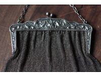 Antique French Chatelaine Solid Silver Purse, Clutch or Evening Bag