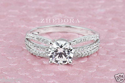 1.60 CT Round Cut Engagement Ring Bridal band 14k Real Solid White Gold