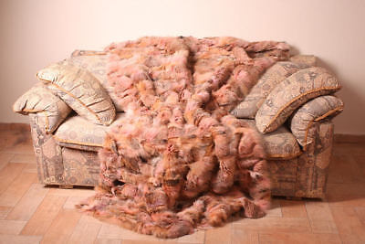 Fox fur blanket throw bed sofa comfort softness best gift woman Handmade