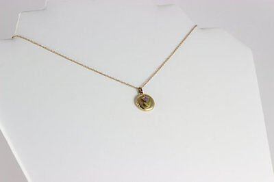 14k Yellow Gold Locket Necklace Tulip Necklace 15 inch Petite Woman Teen Kids ()
